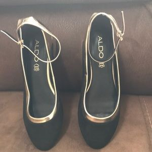Aldo Black Suede and Gold Shoes